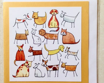 16 Dogs Greeting Card