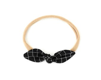 Black Baby Knot Headband - Baby Nylon Headband - Toddler Headband