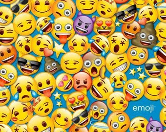 All The Emoji Aqua Yellow Tossed cotton fabric by David Textiles