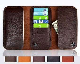 Samsung Galaxy S8 Plus wallet case | Leather wallet for Galaxy S8 Plus | Genuine full grain Italian leather