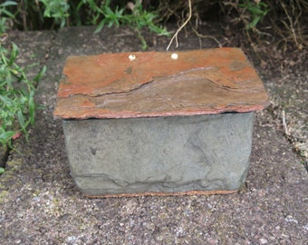 Colorful small slate box with hinged lid. 80 years of weather gives a lot of natural beauty to this box. # SL-23