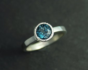 London Blue Topaz Ring, Textured Bezel Halo Ring, Sterling Silver, 6.5mm Round Gemstone, Blue Topaz Ring, Ready to Ship Size 7