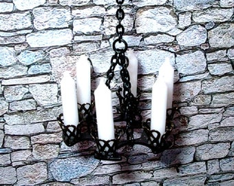Medieval Black Chandelier, Wrought Iron Chandelier, Dollhouse Miniature 1/12 Scale, Hand Made