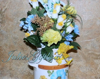"Re-Claimed FTD Ceramic Milk Can-NEW Silk Floral Arrangement 14.5""H x 8""W Wood Water Can Plant Pick"