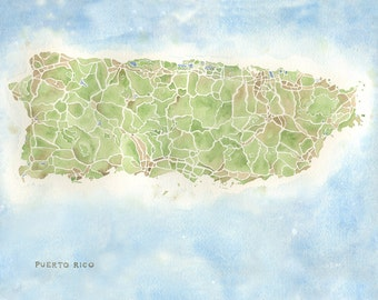 Puerto Rico map 5x7, 8x10, 11x14, 12x16 print watercolor map