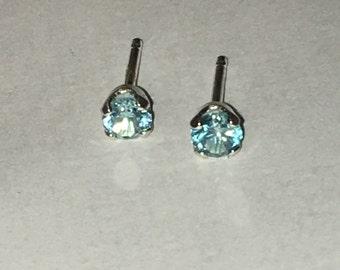 Topaz earrings,Blue Topaz sterling silver stud earrings