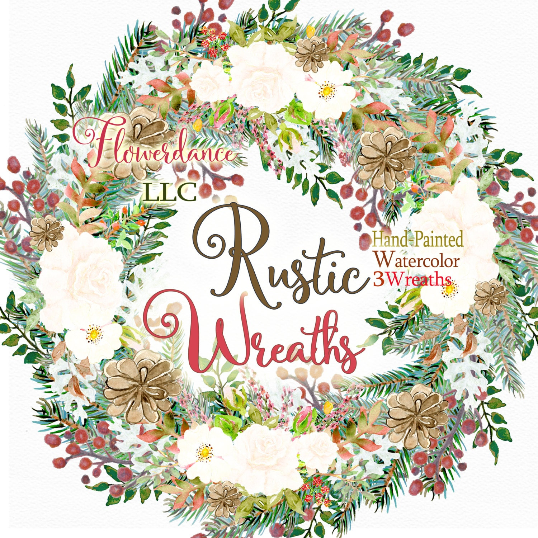 Rustic Wreath, Christmas Watercolor Wreaths,rustic