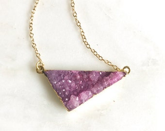 Druzy Necklace. Pink Druzy Necklace. Pink Triangle Druzy Necklace. Crystal Pink Geode Necklace. Jewelry. Gift. Holiday Jewelry Gift.