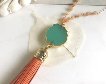 Tassel Necklace Orange and Turquoise. Leather Tassel.  Long Gold Tassel Necklace. Gold Tassel Necklace.  Boho Style. Strand Necklace. Gift.