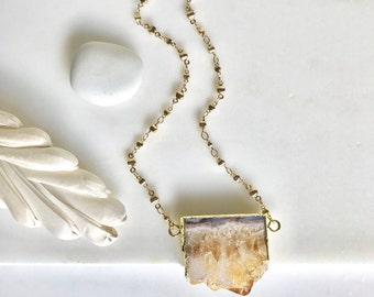 Topaz Slice Druzy Necklace. Geode Necklace. Druzy Jewelry. Stone Necklace. Gold Necklace.  Statement Necklace. Gift. Jewelry Gift for Her.