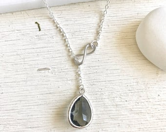 Charcoal Grey Lariat Necklace. Y Necklace.  Infinity Necklace. Lariat. Bridesmaid Necklace. Gift for Her. Wedding Jewelry. Necklace.