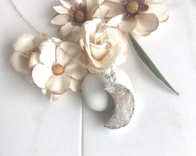 Silver Druzy Moon Necklace. Grey Druzy Moon Pendant Necklace. Crystal Geode Necklace. Druzy Quetz Crystal Necklace. Gift.
