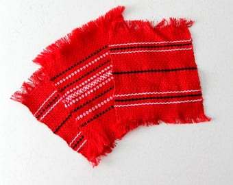 1950s southwestern table mats, vintage Mexicana red woven textiles
