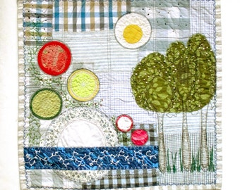 Kitchen landscape summer breakfast embroidered quilted textile wall hanging