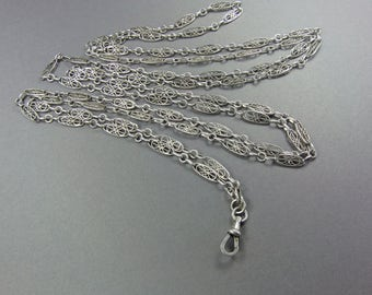 Antique Silver Chain, 55 Inch Muff Chain, Long Chain, 800 Silver, Filigree, French Boar Stamp, Fancy Link, Vintage European Jewelry