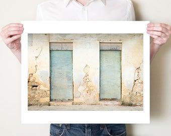 Travel photography print, green doors in Greece, rustic decor, fine art photograph. Kefalonia doorway artwork. Sizes 5x7, 8x10 up to 30x40