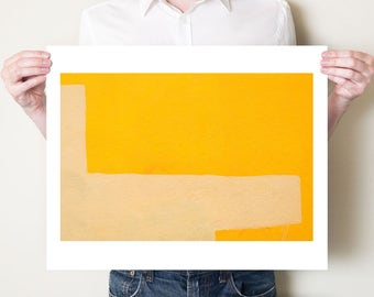 Yellow abstract photography, graphic orange urban wall art, minimalist artwork. Fine art photograph, print sizes 5x7, 8x10, 11x14 to 30x40