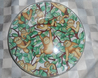 """fabric backed plates, salad plate, 8"""" plate, desert plate, collector plates, fabric backed dishes, monkey plate, monkey, dishes,"""