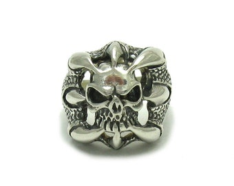 Sterling silver solid 925 skull claws ring biker pendant