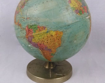"""Vintage Replogle Inc. Globe//Raised Topography//Valentine's Day Gift """"You Mean the World to Me""""""""I'm On Top of the World"""""""
