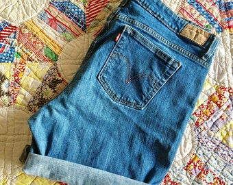 Levi's High Waisted Jean Shorts, Cut Offs Jean Shorts, Vintage Levi Denim Shorts  Sz 18