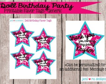 Doll Birthday - Printable Favor Tags - Instant Download!