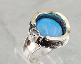 Opal Ring, Hadar Jewelry Handcrafted Israel Art 925 Sterling Silver and 9K Yellow Gold Opal Ring size 7, Gold Opal Ring, Blue Opal, Gift (ms