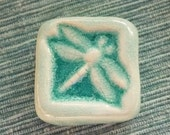 Art Pottery Dragonfly Tile signed Whistling Frog Tile Co,Small Art pottery Tile