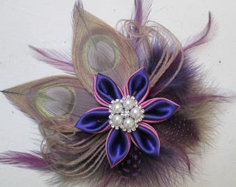 Purple & Orchid Wedding Peacock Fascinator, Silver Peacock Feather Bridal Head Piece, Kentucky Derby, Steampunk Bridal Birdcage Veil