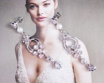 Cubic Zirconia chandelier earrings wedding earrings wedding jewelry crystal earrings long earrings, long bridal earrings, swarovski earrings