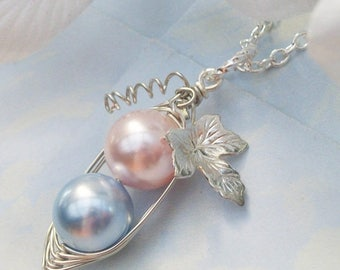 Mothers Day Sale Two Peas in a Pod for a Special Girl and Boy in Silver with Vine and Leaf Swarovski Pearls Brides, Bridesmaids, Friends, si