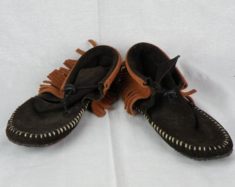 Chocolate & Rust Suede Fringe Moccasins