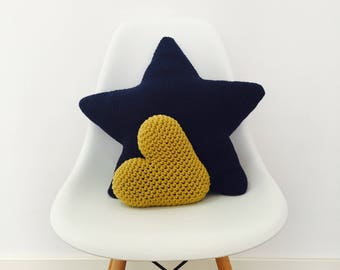 Crochet Heart and Star Pillow Pattern - PDF Instant Download