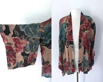 Vintage Kimono Floral Beaded Throw Camisole / Size S-XL