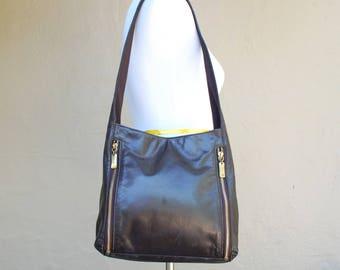 Vintage Nine West Black Genuine Leather Shoulder Bag Purse Tote handbag satchel