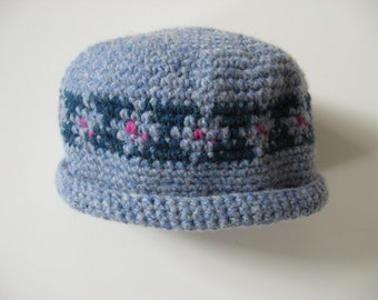 wool baby infant newborn cap hat with flowers