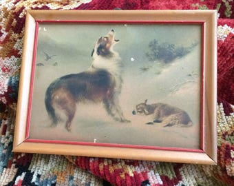 The Lamb & The Dog Antique Litho Print A Wee Little Version