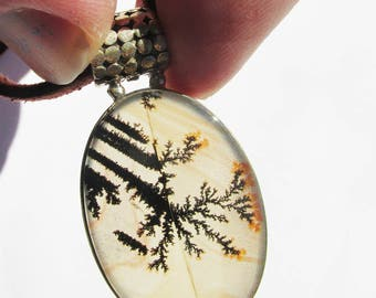 Very Beautiful Dendritic Agate Neclace, One of a Kind, 925 Silver, One of a Kind