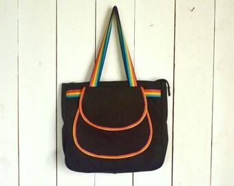 Rainbow Shoulder Bag 1970s Black Canvas Hippie Boho Double Handle Tote by Holiday Fair