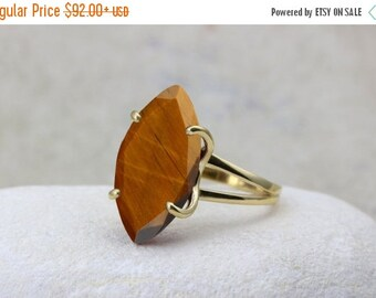 SUMMER SALE - Tiger Eye ring,statement ring,cocktail ring,gold ring,solid gold ring,gemstone ring,prong ring