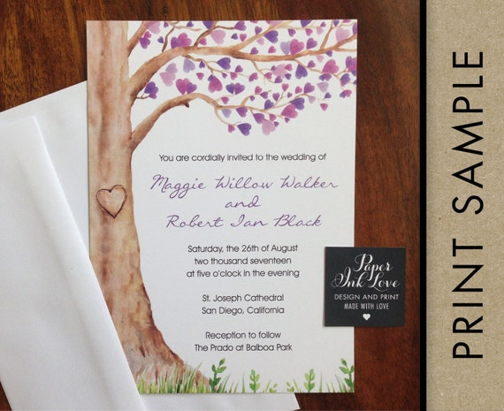 Watercolor Wedding Invitations, Tree with Purple Heart Leaves, Custom Printed with RSVP Cards and Envelopes, 20 Pieces Per Order