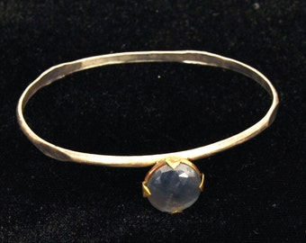 Boho Blue Sapphire Gem-stone Bangle Bracelet, Silver Bangle Bracelet, Tribal Cuff Bracelet, Gem bracelet, Woman's Bohemian OOAK Bracelet