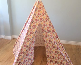 CLEARANCE Pink, Purple, Yellow, Floral, Flower, Play Teepee, Tee Pee, Tent (poles included)