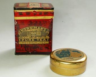 2 Antique Tin Boxes - Collectors - Tea box - pills box