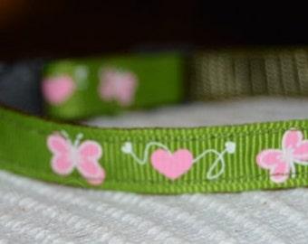 Nemesis - breakaway safety adjustable cat collar - unique handmade soft  green w butterflies sweet cat collar