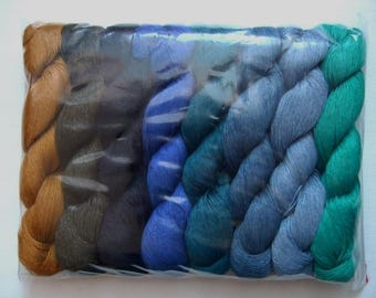 High quality 100% LINEN yarn, 400gr (8 hanks x 50 gr)-Pure Linen Flax For All Purpose Use- Weaving, Crocheting, Knitting, Crafts