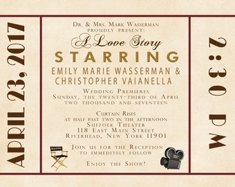 Old Hollywood Wedding Invitations, Antique Movie Theater Invites, Art Deco, Red and Gold, Wedding Invitation Listing for famdoc78