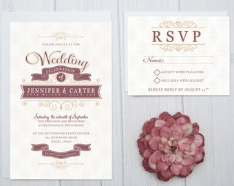 Modern Scroll Wedding Invitation Set | Damask Wedding Invites | Burgundy and Gold Invitations | Cheap Invite Suite