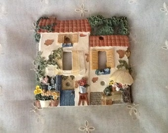 Cottage Flower Shop Dual Switch Plate Cover Adorable Home Decor