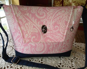 Pink Paisley Duck Cloth with Navy Bottom
